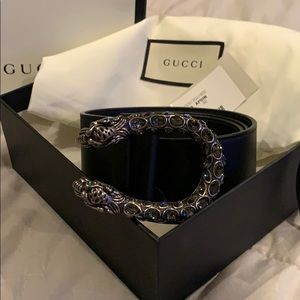 New Gucci Dionysus black Leather belt.
